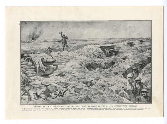 1916 WW1 Print BATTLE SCENE COMBLES British Attack Field Guns TRENCHES Over The Top